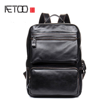 AETOO casual men ladies backpack leather shoulder bag head layer leather travel computer bag