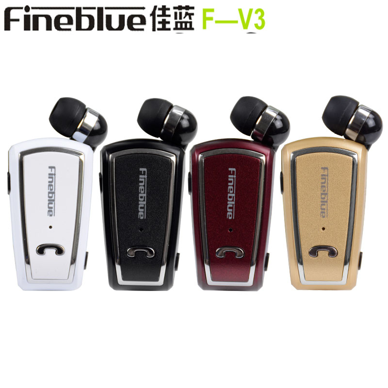 New Fineblue F-V3 Wireless Bluetooth Headset Driver Auriculares Stereo Earphone Retractable Clip Headphones With MIC for headpho fineblue f 458 bluetooth 4 0 mono stereo headset and car charger 2 in 1 wireless noise cancelling earphone with mic for driving