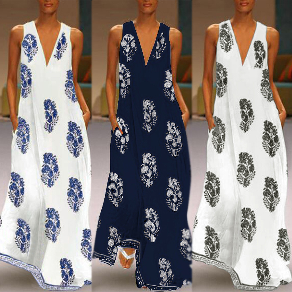 868e7da2b2a0e Worldwide delivery vintage dresses v neck women maxi dresses in ...