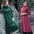 2016 del otoño del verano Delgado bordado Maxi Vestido de las mujeres Del Traje de las señoras de lino retro bohemio Más Tamaño Vestido Largo