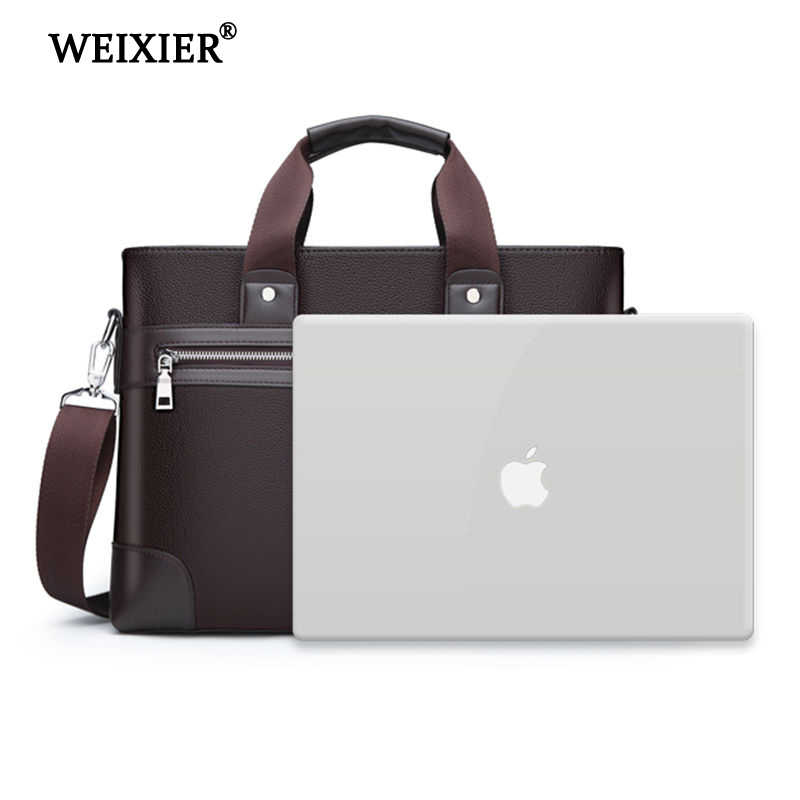 Bolsos WEIXIER de piel sintética para hombre, bolsos de negocios a la moda, bolsos de mano, bolso negro para hombre para documentos, maletines de piel para ordenador portátil, bolso