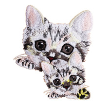 2pcs/set cute cats patches for clothing 3D animal embroidered Patches DIY iron on kitten parches Embroidery applique animals cat