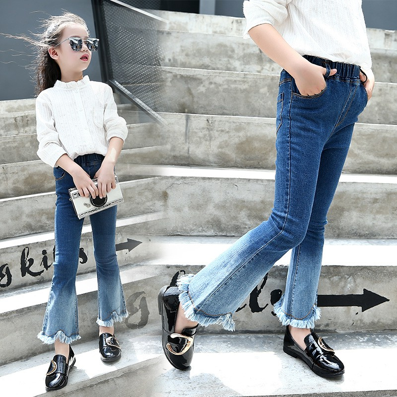 WEIXINBUY Girls Black Tassel Spring New Child Stretch Slim Child Trousers Girls Gradient Color Pants Summer Girl Pants