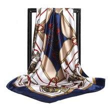 Femminile Raso Sciarpa di Seta 90 90 cm Delle Donne di catena di Stampa  Hijab 822980c52bf7