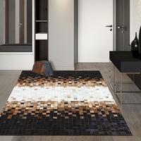 American style luxury cowhide  plaid patchwork rug  natural calfskin fur  carpet  for living room  decoration office carpet|Carpet| |  -