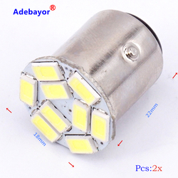 10pcs/lot Car 1157 BAY15D 5630 SMD 9 LED P21/4W P21/5W 7528 Brake rear Tail side turn signal Light Automobile Wedge Lamp white