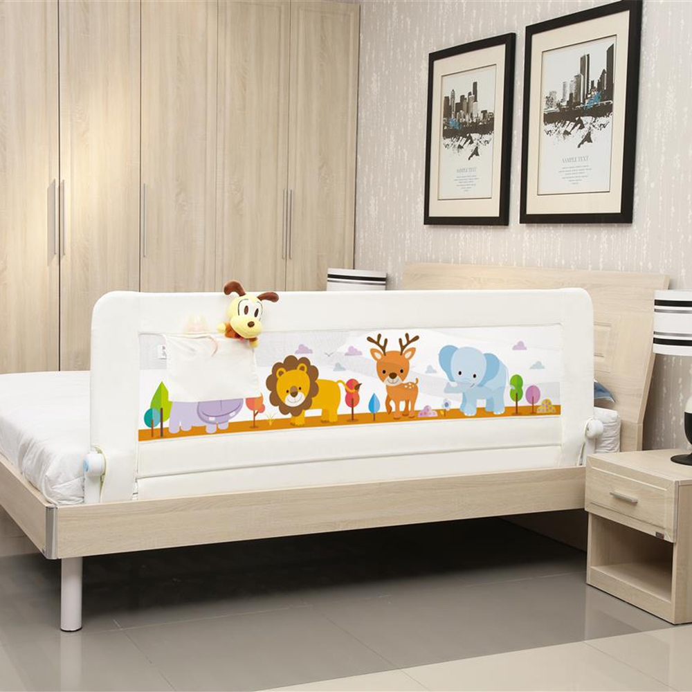 Durable Cartoon Baby Bed Rails Crib Fence Guardrail Safety Bumpers With Pocket Baby Playpen Kids Anti-slip General Bed Crib Rail
