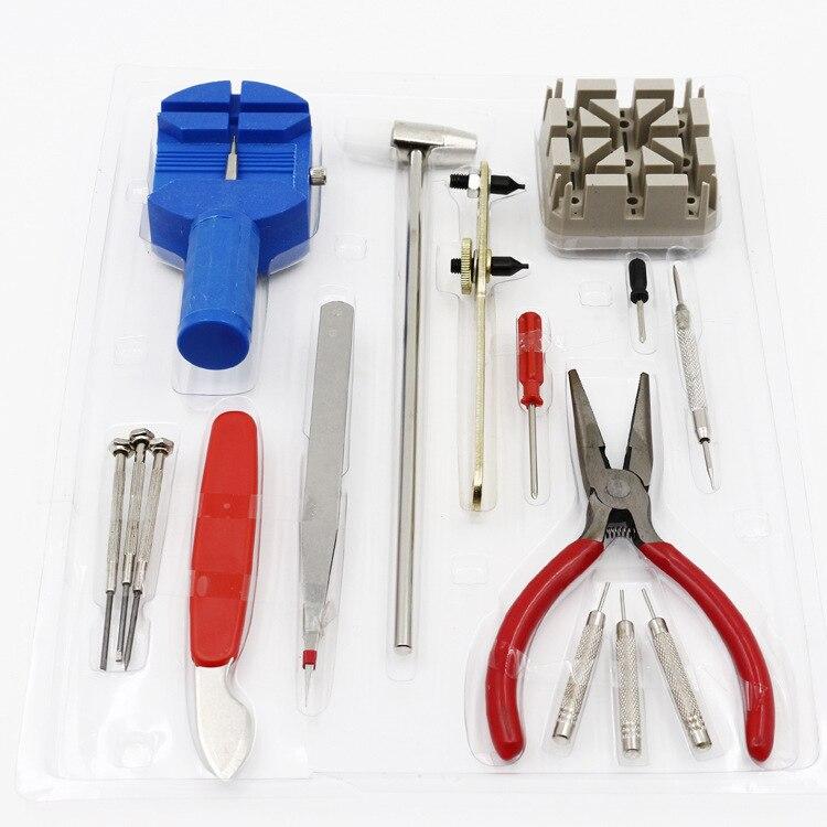 16 unids/set Watch Repair Tool Kit destornilladores abrelatas Martillos pinzas Band enlace bar remover banda titular Alicates relojero