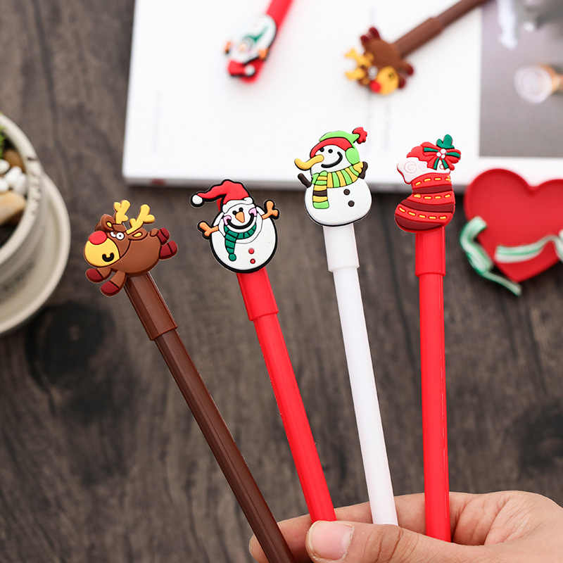 1pcs New 0.38MM Christmas Series Creative gel pen black black pen student writing tools Xmas cute Children's gift Decoration