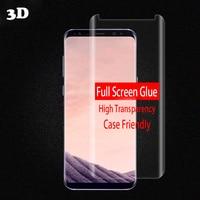 3D Cola Vidro Temperado Curvo Limpar Completa Para SAMSUNG S8 completa Adesivo Protetor De Tela Para Galaxy S8 + Nota 8 Caso amigável