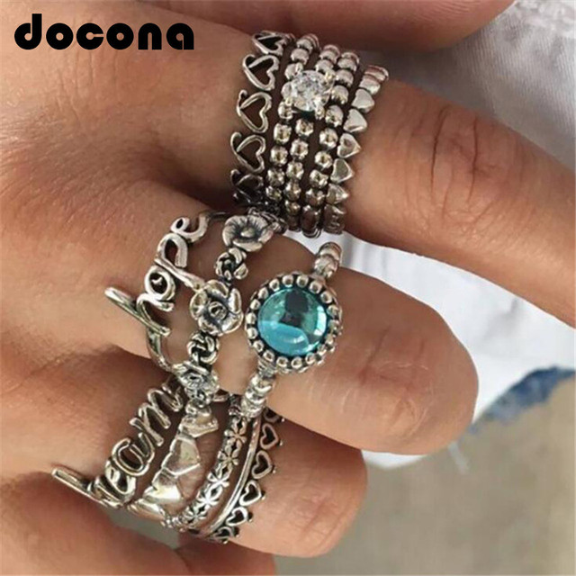 docona Vintage Silver Letter Flower Heart Knuckle Rings for Women Blue Crystal C