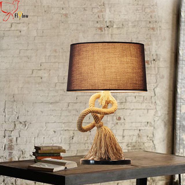 Country Style Creative Hemp Rope Desk Lamp,dia 35CM Cloth Lampshade Retro Table  Lamp For Bedroom Bedside Reading Lamp Lighting