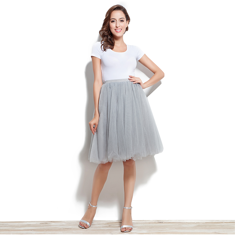 Cheap Tutu Skirt Petticoat Knee Length Wedding Accessories 6 Layer Tulle Underskirt Women Dress Rockabilly Size From S to 5XL