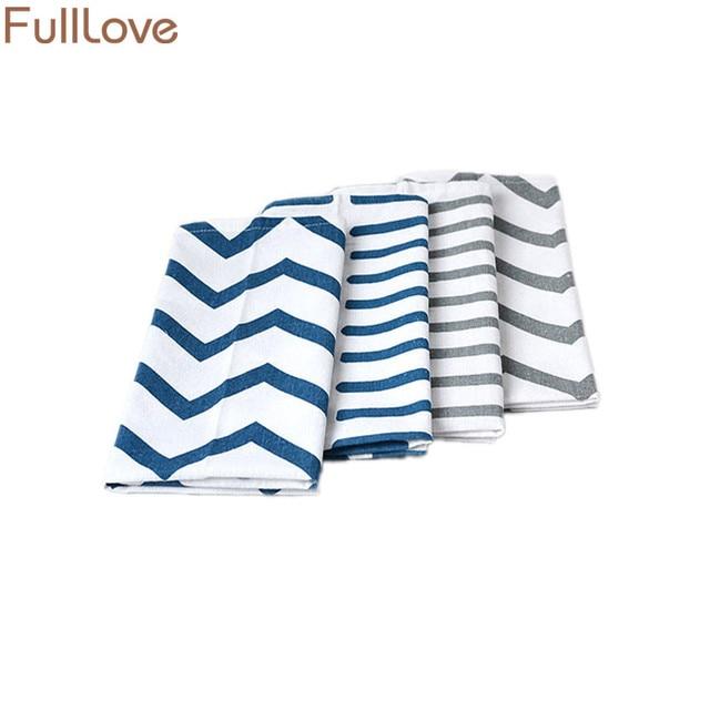 912dc3118562 FullLove 65 50cm 4PCS Set Cotton Kitchen Towels Blue Striped Table Placemat  Dish Towel Coffee Mat Cleaning Cloth Home Textile