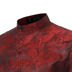 Image 2 - ペイズリー花シャツの男性 2017 ファッションゴールデン箔プリントメンズドレスシャツスリムフィット不規則な傾斜ボタンデザインシュミーズオム