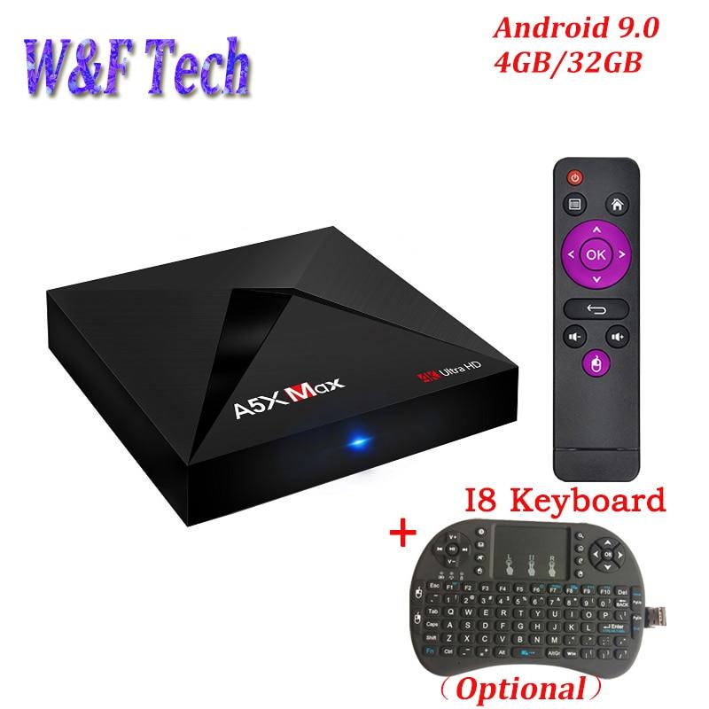A5X Max 4 GB 32 GB Smart TV BOX Android 9.0 RK3328 Quad Core 2.4G WiFi BT4.0 UHD 100 M HD2.0 4 K Media player Set Top BoxA5X Max 4 GB 32 GB Smart TV BOX Android 9.0 RK3328 Quad Core 2.4G WiFi BT4.0 UHD 100 M HD2.0 4 K Media player Set Top Box