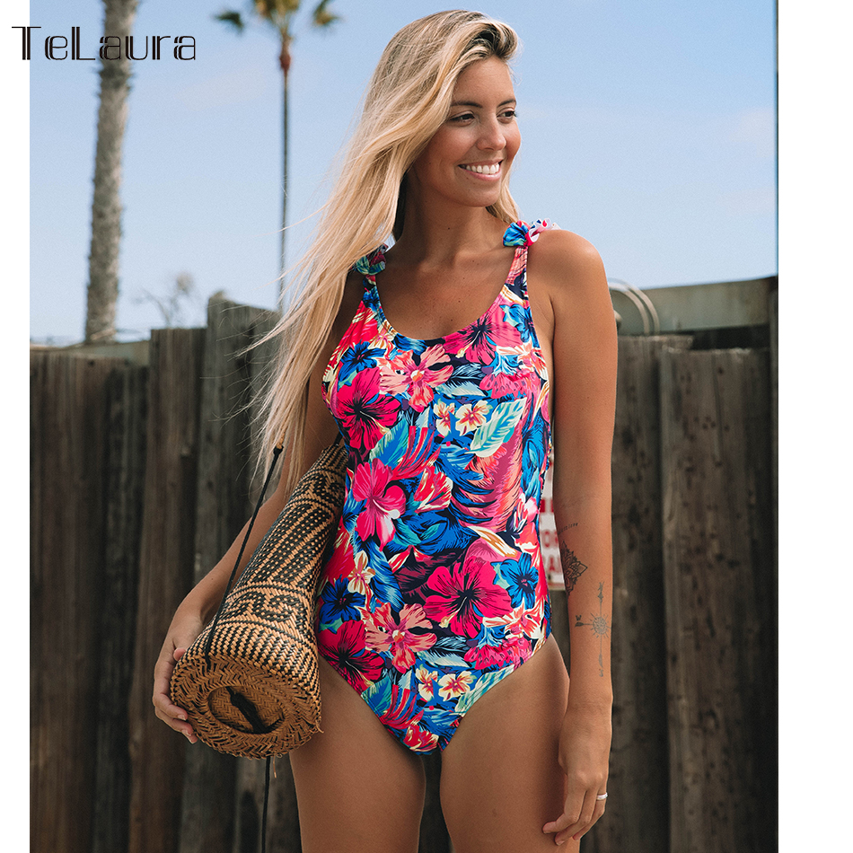 2019 Sexy One Piece Swimsuit Women Swimwear Push Monokini Ruffle Bathing Suit Print Swim Suit Bodysuit Summer Beach Wear