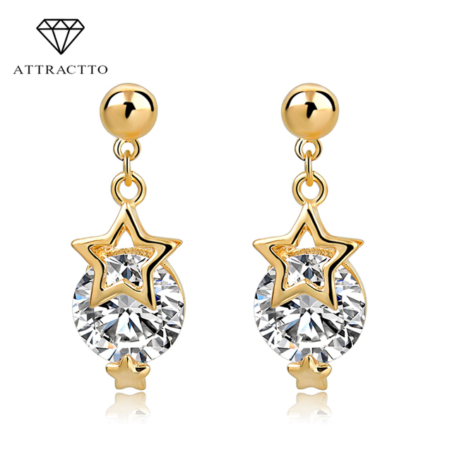 fa3ed7e95976 ATTRACTTO 2018 Newest Crystal Star Stud Earrings For Women Gold Color  Statement Earrings Wedding Jewelry Pendientes SER150163
