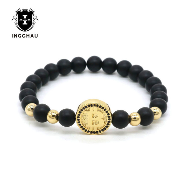ae389e2da16 2018 Fashion Bitcoin Bracelet For Men Black Matte Stone Beaded Luxury  Bracelet Men Best Friends Gift Pulseira Masculina BT-10