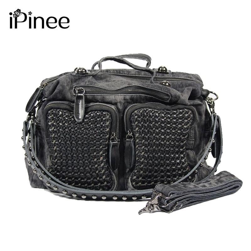 iPinee 2017 New Fashion Weave Women jean Bag  Handbag Ladies' Cool Denim Shoulder Messenger Bag