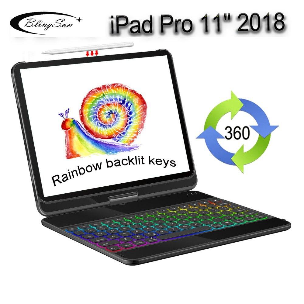 7 couleurs étui pour clavier bluetooth rétro-éclairé pour iPad Pro 11 2018 couverture porte-crayons coque en aluminium étui folio élégant sommeil sillage 360