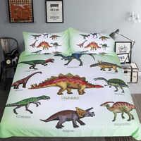 Ropa de cama de dinosaurio con estampado jurásico, juego de edredón, ropa de cama de Setgosaurus para niños, dibujos animados, 3 uds, Textiles para el hogar