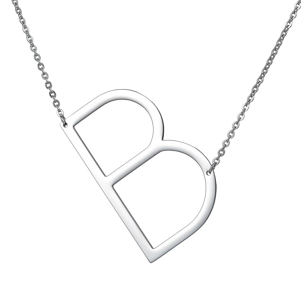 bogstaver halskæde sølv A til Z vedhæng i rustfrit stål choker - Mode smykker - Foto 3