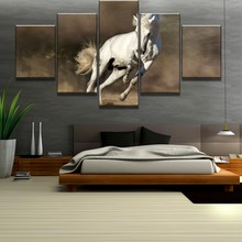 Framed 5 Piece HD Print White Horse Run Poster Cuadros Landscape Canvas Wall Art Home Decor For Living Room Canvas Painting цена