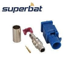 Superbat 10 stücke Fakra crimp stecker stecker für Blau GPS telematik oder navigation Fakra Neutral codierung für Rg58 LMR195