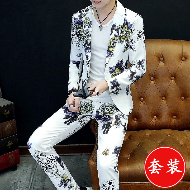 HO   2020 Color Suits For The For Men Cool Autumn Leisure Tide Two - Piece Printed Suit