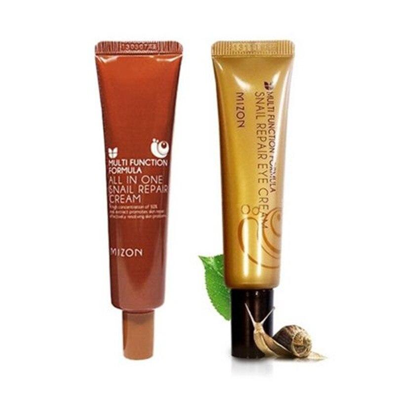 MIZON 1+1 All In One Snail Cream Tube 35ml + Snail Repair Eye Cream Tube 15m Facial Snail Cream Face Skin Care Firming Eye Cream