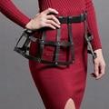 100% Artesanal Sexy Pub Partido Mulheres Quadro de Corpo De Couro Bondage Caged Harness Cintura Cincher Cintas Cinto de Vestido de Saia