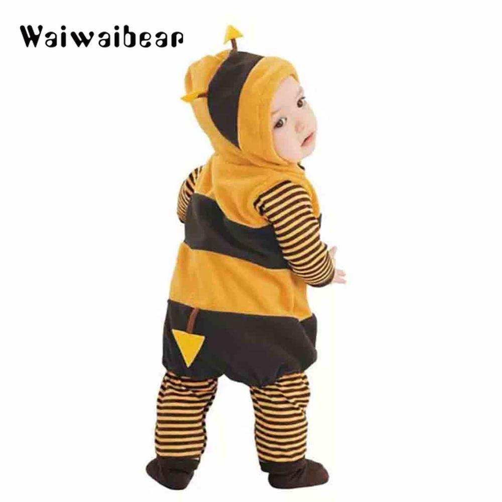 Baby Animal Rompers Bee Ladybug Shaped Long Sleeve Hooded Fleece Spring Autumn For Boy Girl Clothing