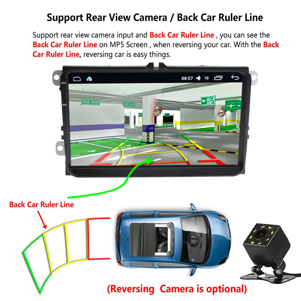 2 Din Voiture Auto 9 pouces Radio Android 6.0 GPS Tracker Pour volkswagen Arrière vue Caméra WIFI HD Contrôle De La Direction multijoueur