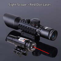 3 10x40 Tactical Rifle Scope Red Laser Dual Illuminated Mil Dot W Rail Mounts Combo Airsoft