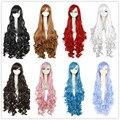 Бесплатная Доставка 100 см Синтетические Волосы Длинные Вьющиеся Светлые Розовый Красный Синий Коричневый Парик Косплей Парик
