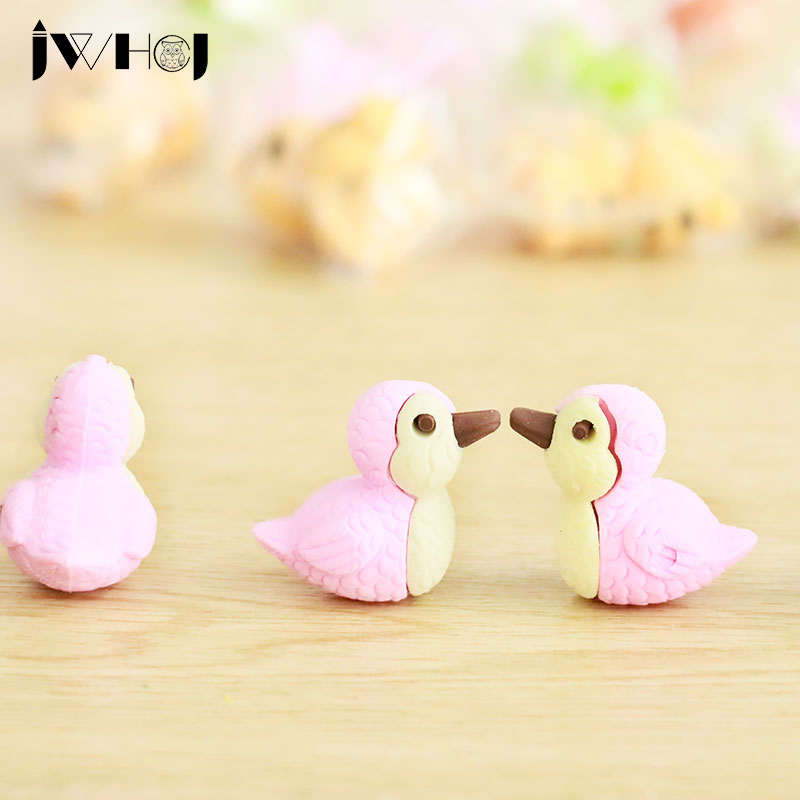 3 Pcs Novelty Cute Duck Shape Rubber Eraser Kawaii Stationery School Supplies Papelaria Gift Toy For Kids Penil Eraser