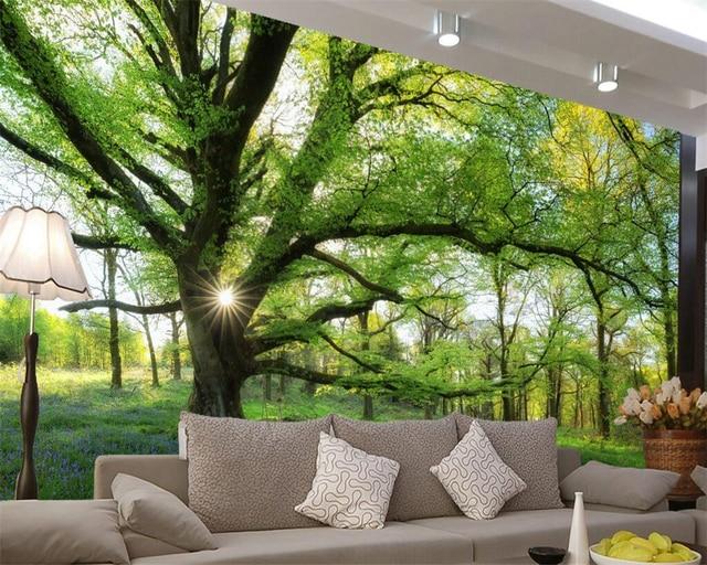 Gentil Beibehang Papel De Parede 3D Trees Landscape Wallpaper Decorative Mural Living  Room Bedroom Background 3D Wallpaper