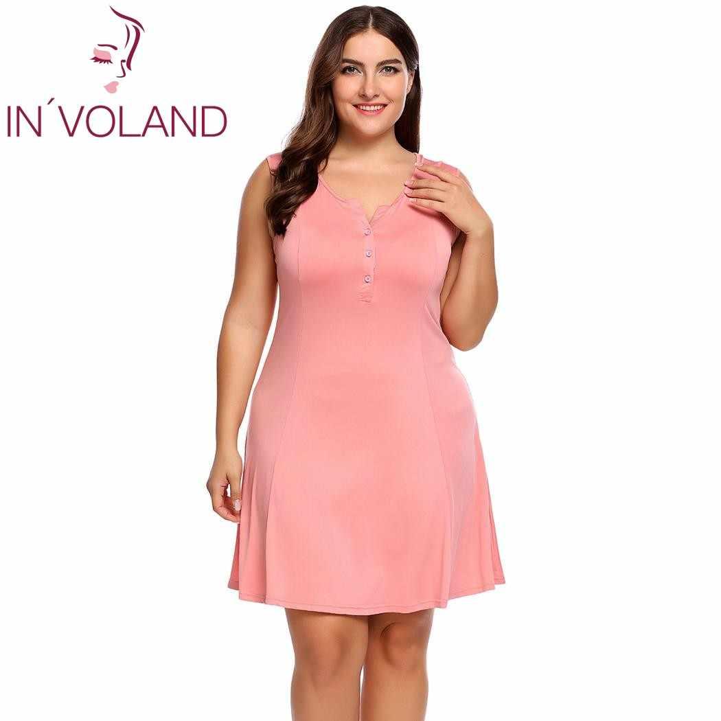 IN VOLAND Big Size Women Basic Dress L-4XL Henley Neck Sleeveless Solid A 88e06ef1b5de