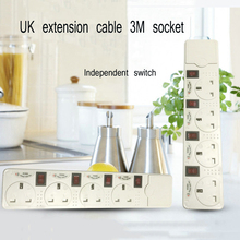 British standard plug 3M extension cable 4 independent switch power strip UK socket with