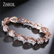 ZAKOL Fashion Women Accessories Luxury Cubic Zirconia Water Drop CZ Stone Bracelet Bangle Bridal Wedding Jewelry Gift FSBP055
