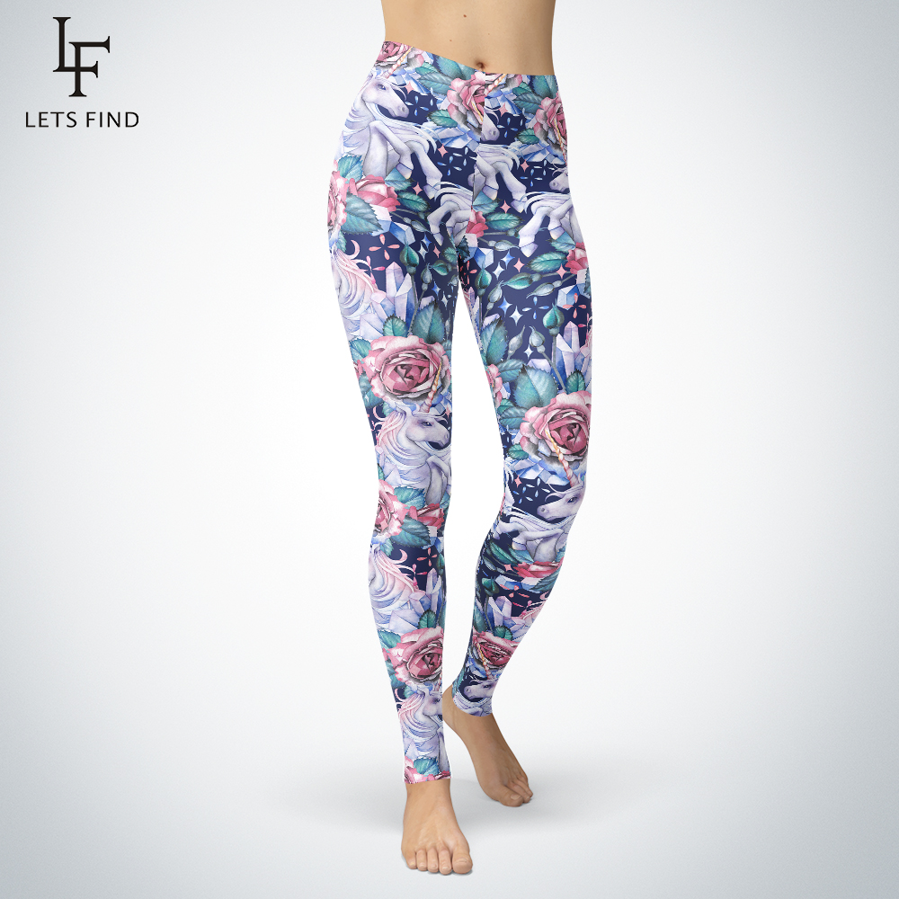LetsFind 3D Printed Crystal Flower Unicorn Leggings Women Mid Waist High Quality And Colorful Pants Oil Painting Sexy Leggings