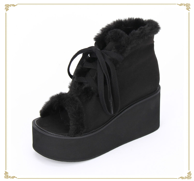 Princess sweet lolita shoes new Japanese muffin black peep-toe thick-heeled 8cm flock lace-up flatform shoes pu8889 lace up flatform satin shoes