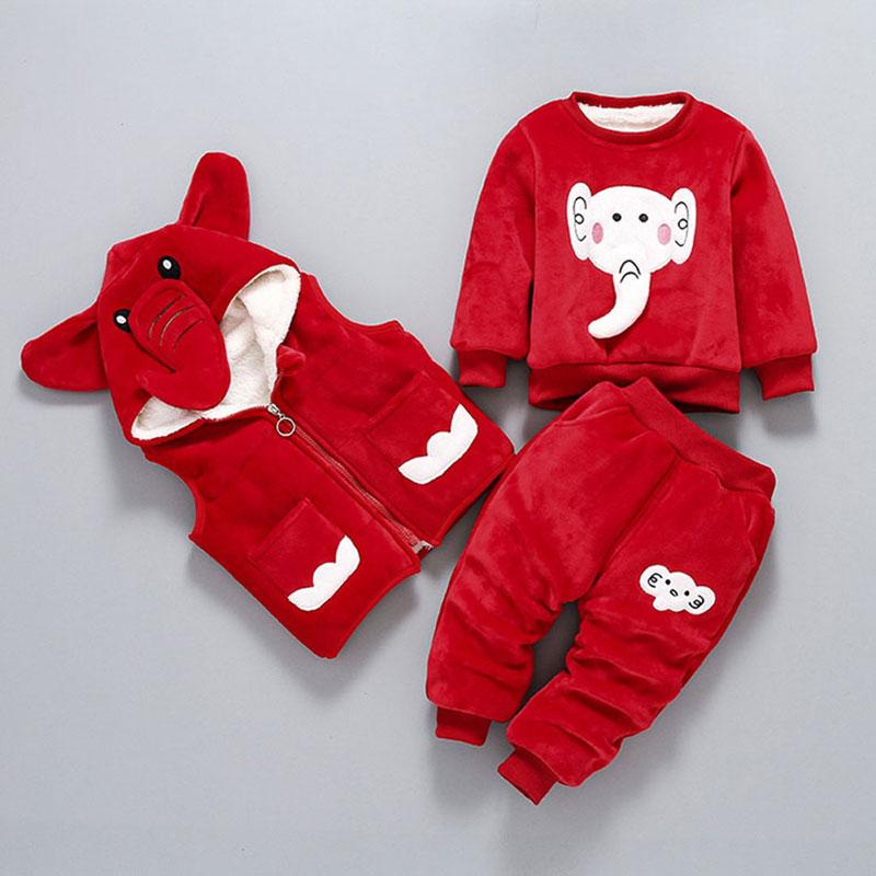 Cartoon Elephant Lovely Winter Clothing Set for Newborn Baby Boy Girl Fashion Outerwear Warm Clothes Suit Children's Jacket Coat 2pcs set baby clothes set boy
