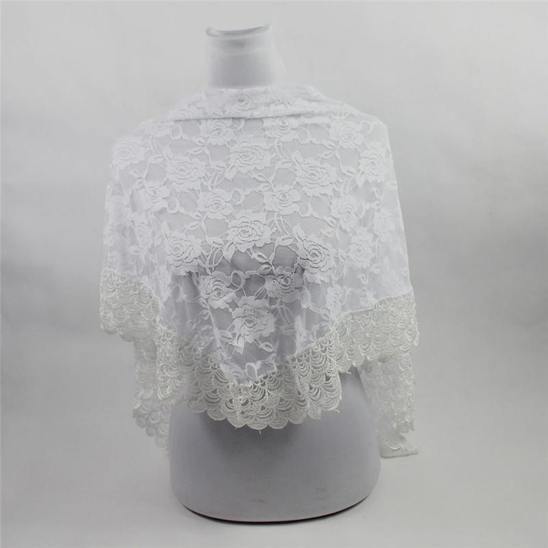 Fashion Women Lady Long Lace Rose Flower Triangular Mantilla   Scarf     Wrap   Shawl women's   scarves   handkerchief hijab   scarf   40MA05