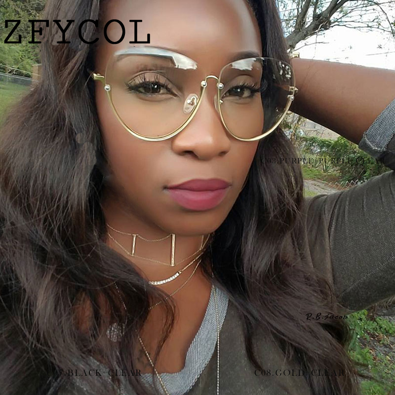 70a3f0fe0a98 ZFYCOL Oversize Ladies Metal Frame Clear Lens Glasses Fashion Women  sunglasses Luxury Brand Design Female Pink Eyewear-in Sunglasses from  Apparel ...