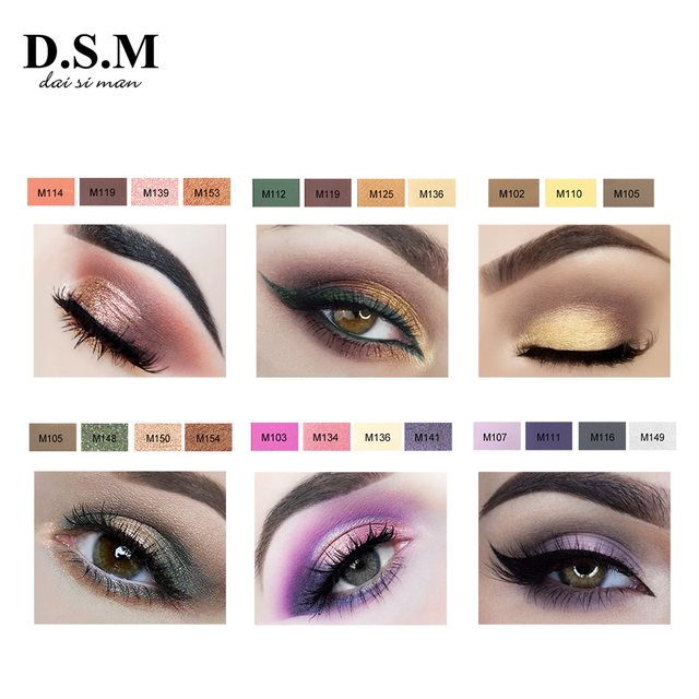 D.S.M Brand New DIY Eye Shadow Replaceable Combined 4 Perfect Shades Palettes Matte Glitter Colorful Makeup Eyeshadow Palettes 2
