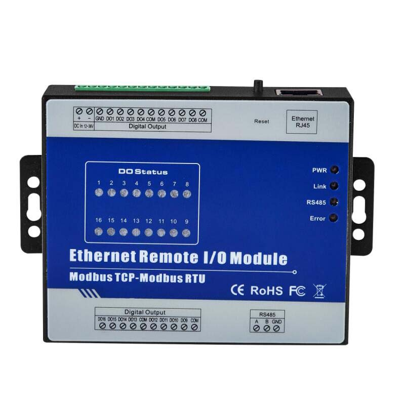 RS485 Serial port to Ethernet Remote IO Module supports Modbus RTU/ASCII Master High Speed Pulse Output Stepper motor Control fx1n fx2n fx3u 40mt 24di 16do 2ad 2da analog for plc rs485 modbus 4 axis high speed pulse 100khz output stepper motor