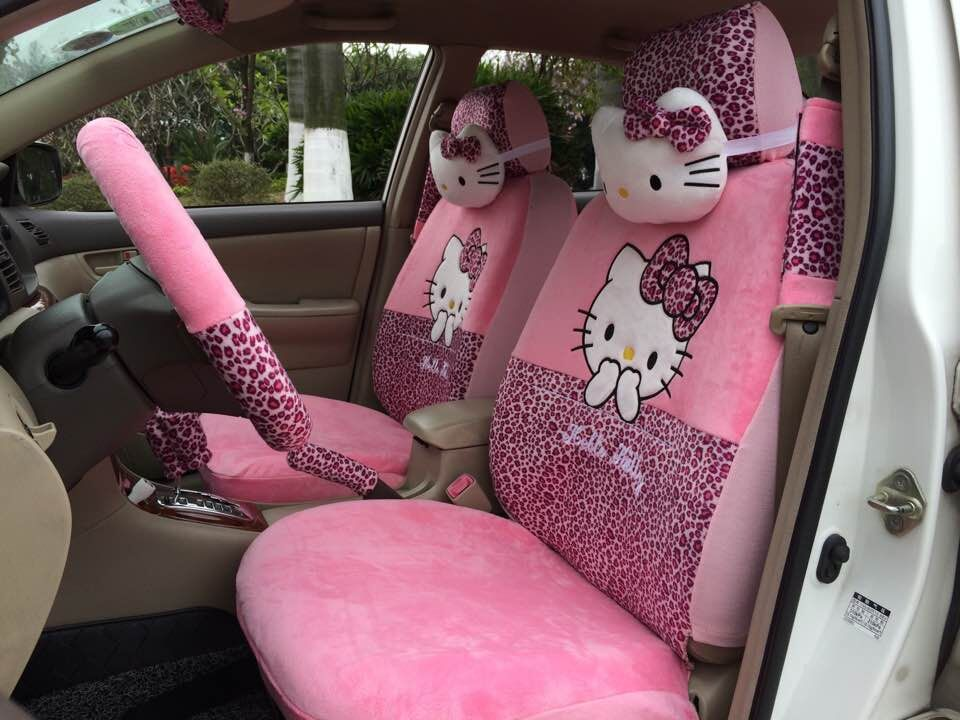 FREE SHIPPING 18 PCs Hello Kitty UNIVERSAL New Pink Leopard Print Car Seat Covers Steering Wheel Cover Pillows In Automobiles From