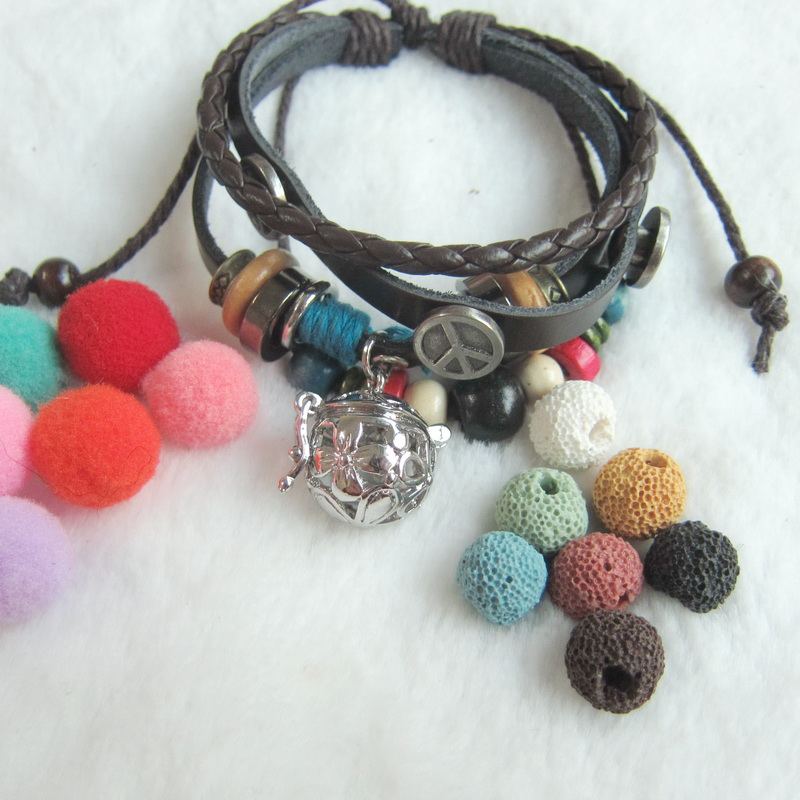 Handmade Multi Bead Charms Diy Lava Bead And Felt Balls